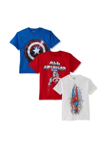 Freeze Boy's 8-20 Captain America/Shield/Spider-Man T-Shirt Bundle (Red/Royal/White)