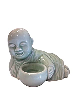 Asian Art Imports Celadon Reclining Monk, Green