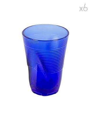 Kaleidos Set 6 Bicchieri Accartocciati 340 ml (Blu)