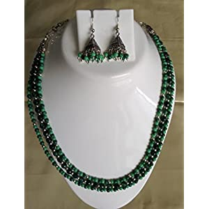 Surya Creations Semi Precious Dark & Light Green Necklace