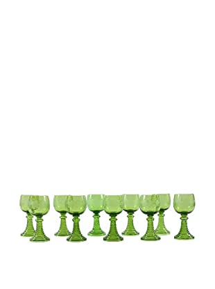 Set of 10 Cerulean Cocktail Glasses, Green