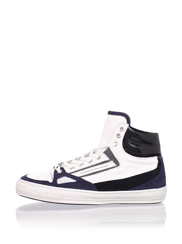 Alessandro Dell Acqua Men's Roland Hi-Top Sneaker (White/Blue/Silver)