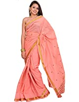 Exotic India Peach-Bloosom South Cotton Saree with Woven Bootis and Zari - Pink