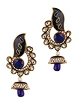 Blue and gold embellished earrings with a tear drop base
