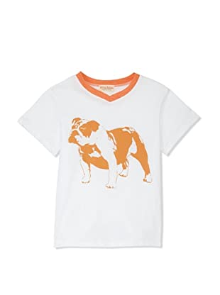 Upper School Boy's Go Bulldogs V-Neck Tee (White/Orange Trim)