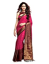 Ishin Cotton Pink & Brown Solid Saree