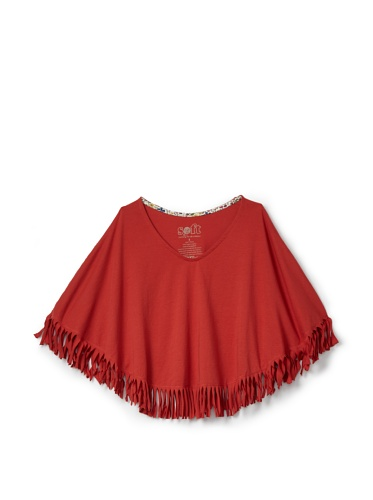 Soft Clothing Kid's Deborah Poncho (Sedona Red)