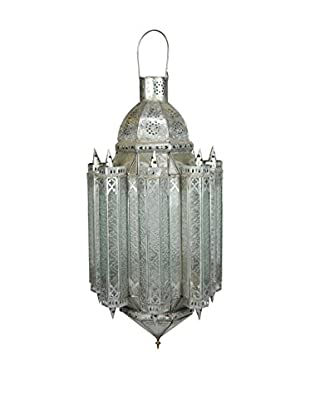 Uptown Down Indian Lantern, Brushed Silver/Glass