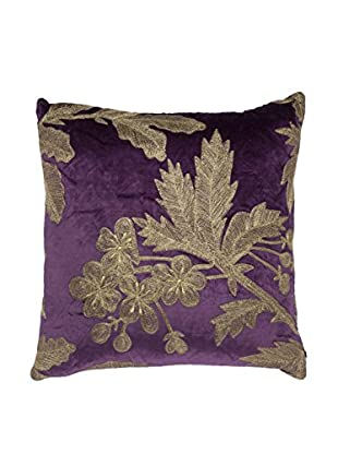 Cloud 9 Embroidered Velveteen Throw Pillow, Purple/Gold