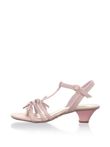 Pampili Kid's Kitten Heel T-Strap Sandal (Pink)