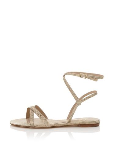 Delman Women's Syera Strappy Sandal (Cream Karu)