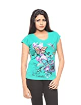 Trendy Girlz Women's Cotton Printed Emerald T-Shirt