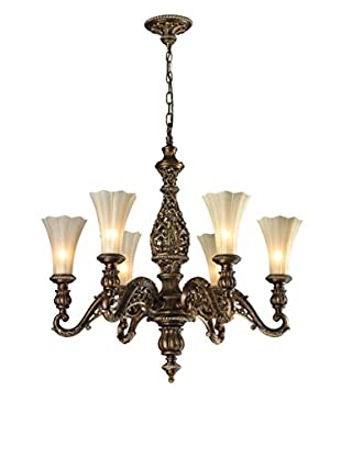 Artistic Lighting Allesandria 6-Light LED Chandelier, Burnt Bronze/Weathered Gold Leaf