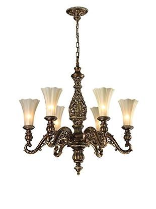 Artistic Lighting Allesandria 6-Light LED Chandelier, Burnt Bronze/Weathered Gold Leaf