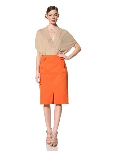 Magaschoni Women's Slit Skirt (Tangerine)