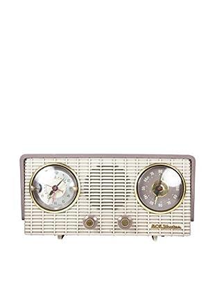 1950s Vintage RCA Victor Clock Radio, Ivory/Tan