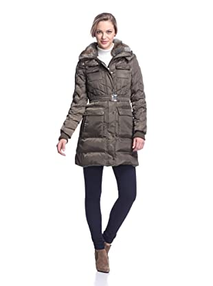 Ivanka Trump Women's Belted Puffer with Faux Fur Collar (Moss)