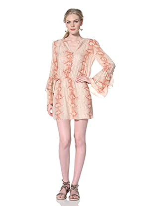 Parker Women's Double Flared Sleeve Dress (Coral Python)