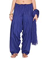 Stylenmart Ladies Dark Blue Cotton Regular Fit With Dupatta Dupatta Patiala Set