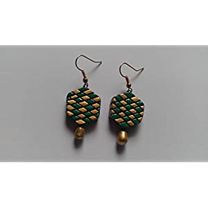 Shingles d'sire Small Dangler Earrings in Green & Gold