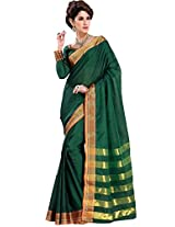 Impressive Green Party Wear Indian Saree Designer Work Cotton Sari