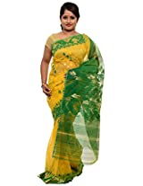 Beautiful Yellow and green Dhakai Jamdani Cotton Silk Saree (JOSR0000086, Green & Yellow)