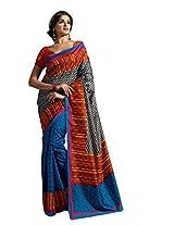 De Marca Multi-Coloured Raw Silk A2421 Saree