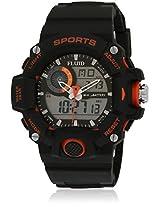 Dmf-006-Or01 Black/Black Analog & Digital Watch Flud