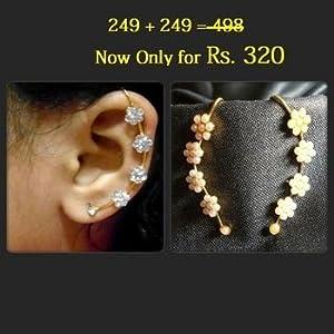 Golden Stone Kaan Ear Cuff Earrings