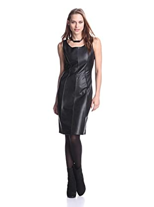 AS by DF Women's Black Nights Leather-Front Dress (Black)