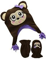 Accessories 22 Little Girls' 2-6X Cute Monkey Girl Fleece Critter Hat and Mitten Set
