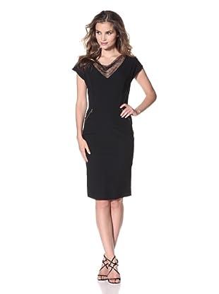 Nina Ricci Women's Fishnet Jacquard Short Sleeve Dress (Black)