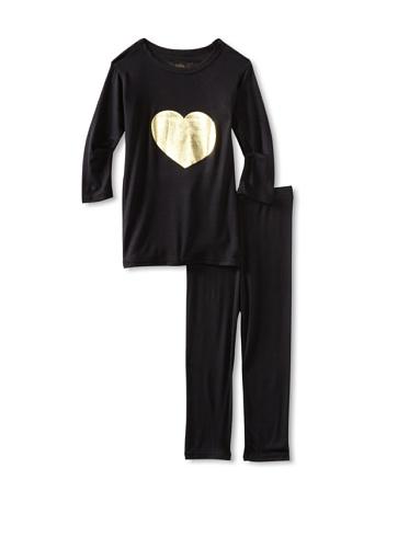 Ivy & Olivia Girl's Heart Tee and Legging Set (Black)