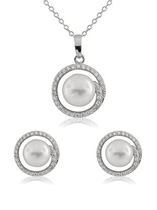 Bella Pearls Conjunto de cadena, colgante y pendientes plata de ley 925 milésimas