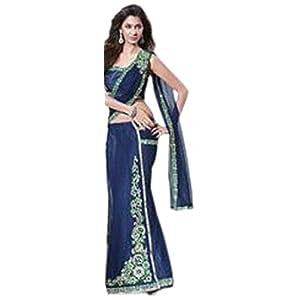 Dynamic Blue Net Prestitched Lehenga Style Saree with Blouse