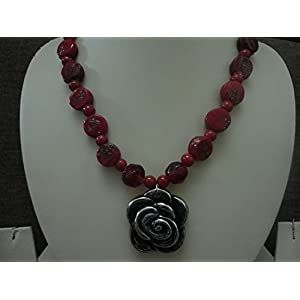 Mona Jewels Red Bead with Antique Silver Pendant