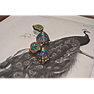 Artistri Peacock Blue And Green Dot Jhumkas On Gold With Mango Studs & Floral Motif
