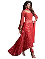 Indiankala4u Women Net Asymmetrical Embroidered Kurta with Embroidered Crop Pants Dress Material, Red