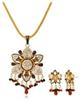 Aakhi Maroon Green Pearl Drop Jewellery Set for Women (AKS_ST_STARG)