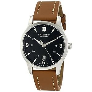 Victorinox Swiss Army Analog Alliance Black Dial Brown Strap Watch Men's Watch 241475