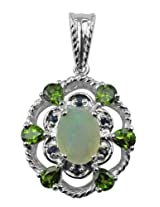 Carillon India Sterling-Silver Pendant Unisex Green