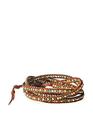Chan Luu Peridot and Natural Brown Beaded Wrap Bracelet