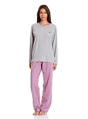 Muslher Pijama Señora Bordado Perro De Tres Piezas (Gris)