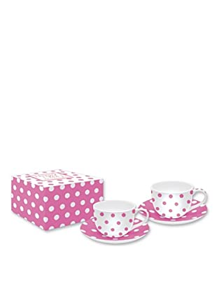 Easy Life Design Set 2 Tazzine Espresso con Piattini in Porcellana Happy Pois (Rosa)