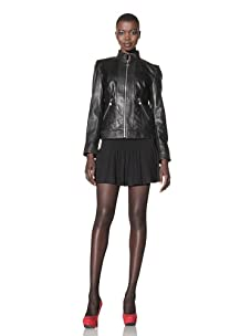 Betsey Johnson Women's Zip-Up Leather Jacket with Perforated Detail (Black)