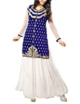 Clickedia Beautiful white & blue gown