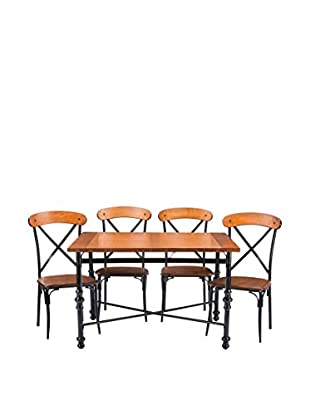 Baxton Studio Broxburn Light Wood and Metal 5-Piece Dining Set, Brown