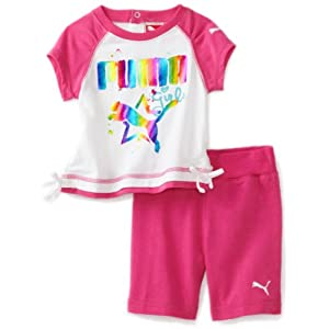 PUMA - Kids Baby-girls Infant Tee And Bermuda Short Set, Raspberry Rose, 12 Months