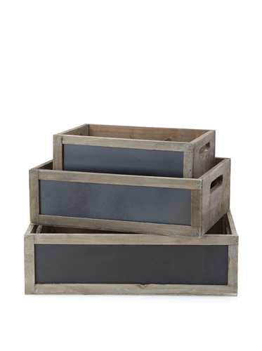 Wald Imports Set of 3 Distressed Wood Crates with Chalkboards, Natural