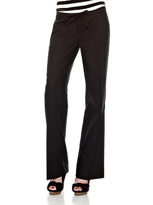 Cortefiel Pantalón Básico Lino Largo T 9 (Negro)